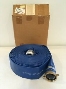 2 X 50 Heavy Duty Sf 10 Blue Lay Flat Pvc Water Discharge Hose With M
