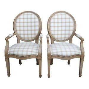 Pair Vintage Henredon French Provincial White Gray Plaid Accent Chairs