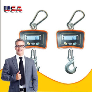 2 Pcs Digital Crane Scale Heavy Duty Industrial Hanging Scale 500 Kg 1100 Lbs