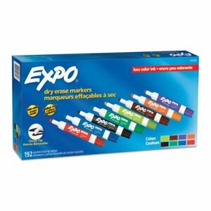 Expo Low odor Dry erase Markers Chisel Tip Assorted Colors Pack Of 192