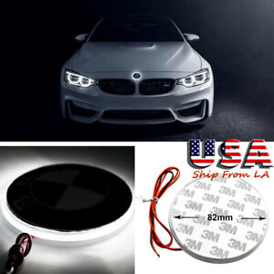 82mm Bmw Logo Emblem Led White Background Light For Bmw 3 4 5 6 7 X M Z Series