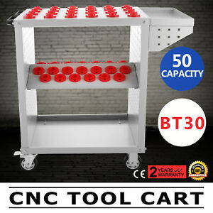 Bt30 Cnc Tool Trolley Cart Holders 50 Capacity Service Cart Milling White Great