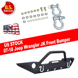 For 2007 18 Jeep Wrangler Jk Textured Front Bumper Led Lights Winch Plate New