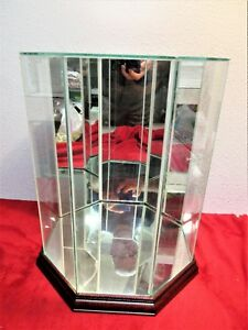 Curio Glass Display Case Mirror Wood Octagon Upright Glass Top 13 8 Panels