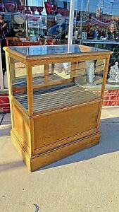 Antique Store Oak Cigar Humidor Showcase Display Cabinet