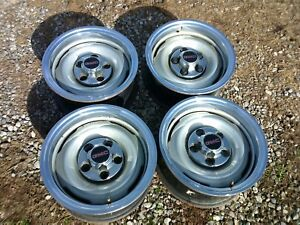 1973 87 Gmc Chevy gm Truck jimmy 15x8 5 Lug Rally Steel Wheels Trimrings caps