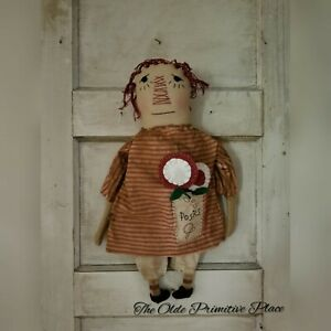 Primitive Raggedy Ann Doll With Pocket Full Of Posies