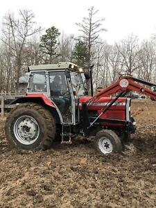 Massey Ferguson 383 Diesel Tractor With Cab And Front End Loader Very Good