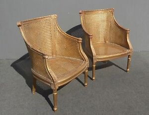 Pair Vintage French Provincial Fauteuils Gold Wood Cane Club Accent Chairs