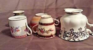 Lot Of Six Vintage English Tea Cup Demitasse And Saucer Sets Bone China