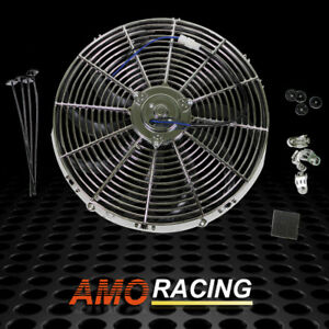 Chrome 16 Inch Curved Electric Radiator Cooling Fan W mounting Kit 10 blades
