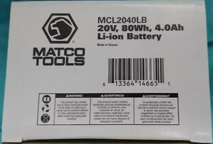 Brand New Matco Cordless Hand Tools Mcl2040lb 20v Li Ion Battery 18 20 Volt 4ah