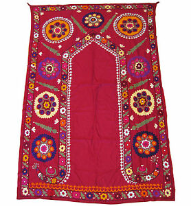 Large Vintage Suzani Bedspread Wall Hanging Embroidered Cotton