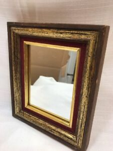 Vintage Mid Century Wood And Antiqued Gold Decorative Mirror