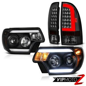 For 12 15 Toyota Tacoma Smoked Neon Tube Rear Projector Head Lamps Replacement