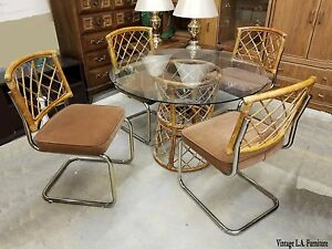Unique Vintage Mid Century Modern Dining Room Table Rattan Chairs 1981