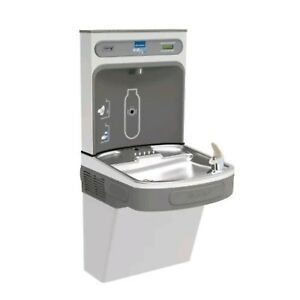 Both Elkay Filtered Fountain Ezh2o Bottle Filling Station Stainless Steel