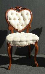 Vintage French Provincial Heart Shaped Tufted White Accent Chair Signed