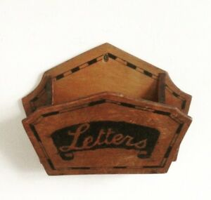 Vintage Wall Mounted Decorated Wood Letter Rack