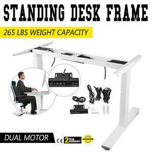 Electric Height Adjustable Standing Desk Frame Dual Motor 3 Tier Sit To Stand