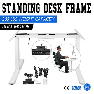 Electric Height Adjustable Standing Desk Frame Dual Motor Memory Control White