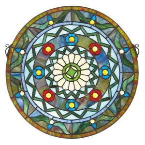 16 5 Victorian Tiffany Style Bold Geometric Stained Glass Round Window Panel