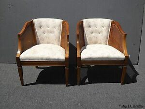 Pair Vintage French Country Wood Cane White Tufted Accent Club Chairs