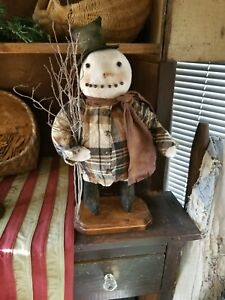 Primitive Chubby Snowman On Wood Base Made To Order