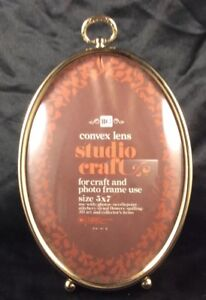 Vintage Convex Oval Photo Frame Gold Tone 5 X 7