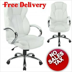 Big And Tall White Executive Chair High Back Support Leather Gaming Office Desk