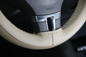 Circle Cool 47009 Sew On Steering Wheel Cover Wrap Beige Pvc Leather 14 5 15