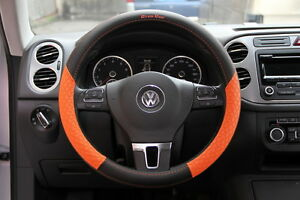58013 Circle Cool Luxury Steering Wheel Cover Wrap 14 5 Black Orange Pvc Leather