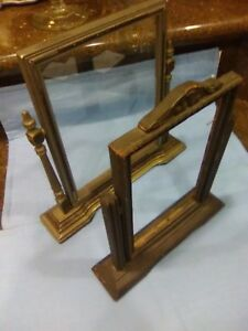 Antique Wooden Swinging Picture Frame 2 Glass In One Only