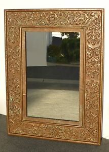 Large Vintage Copper Repousee Wall Mantle Mirror W Patina Floral Design