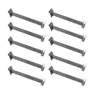 10 Pc 12 Chrome Slatwall Retail Display Hangrail Bracket 1 3 4 X 1 2
