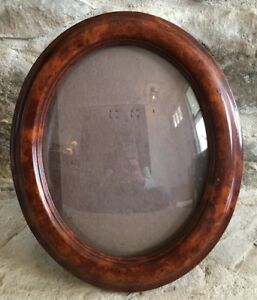 Vintage Wood Bubble Convex Oval Picture Frame Empty
