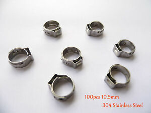 1000 Pc 10 5mm 2 5 Pex Stainles Steel Ear Clamp Cinch Rings Crimp Pinch Fitting