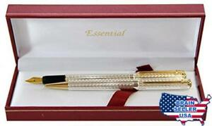Set Of 2 Essential Cd10 Business Gift Ball Point Pen Fontain Pen With Gift Box