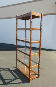 Vintage Mid Century Modern Five Tier Wood Glass Shelf Bookcase Bookshelf W Light