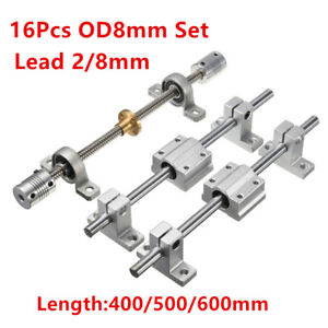 T8 Optical Axis 2mm 8mm Lead Screw Rail Shaft Support Pillow Block Bearing Kit