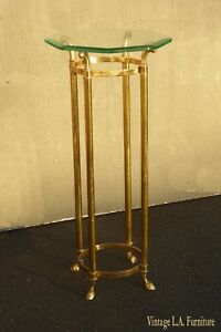 Tall Vintage French Provincial Brass Side Table Plant Stand Statue Holder