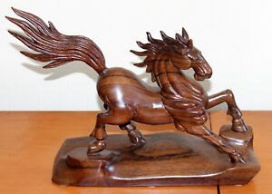 Old Chinese Wood Hand Carved Chi Lin Running Horse Wealth Success Statue Figure