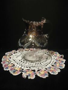 Fenton Victorian Glass Water Pitcher Hp Blue Flowers Gold Vtg Crochet Doily
