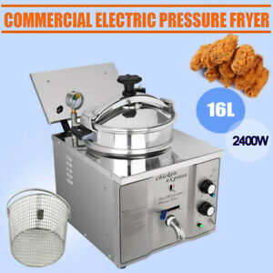2400w Commercial 16l Stainless Electric Pressure Fryers Countertop Chicken 110v