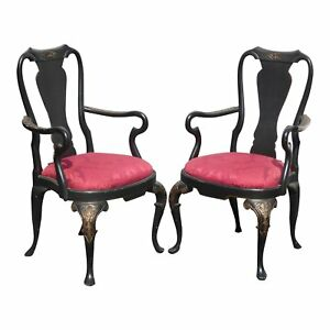 Pair Of Vintage Black Red Ornate Queen Anne Accent Arm Chairs