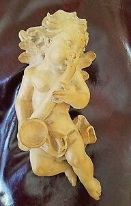 Hand Carved Wooden Wall Hanging Angel Cherub Putti Putto Playing The Saxophone
