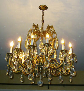 Vintage Very Large French Provincial Brass Crystal Chandelier W 122 Crystals