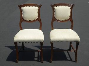 Pair Vintage French Provincial Federal White Accent Chairs W Decorative Nails