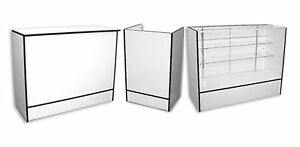 Combo 48 Showcase 48 Wrap Counter 22 Register Well Stand White Black Trim New