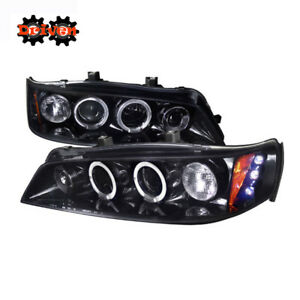 For Honda Accord 94 97 2 4 Dr Drl Smoked Projector Halo Led Headlights Black